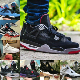 new concept 2a992 e1a9c 2019 Nike Air Jordan 4s retro jordans Tattoo Schwarz Weiß Zement Graffiti  Kaktus Jack Raptors Herren Schuhe billig 4 Rot Kaws Travis Scotts Royalty  Bred ...