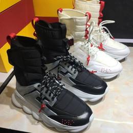 Mens High Top Chain Reaction Sneaker 2 Chainz Sneakers Moda Donna Stivali Trainer Luxury Branded Scarpe Casual Designer Con Box Size 35-45 da stivali mens catena fornitori