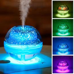 Lámparas de niebla led online-USB Lámpara de noche de cristal Proyector LED Humidificador de aire de 500 ml Lámpara de escritorio Difusor de aroma fabricante de niebla ultrasónica Luz de noche LED para el hogar