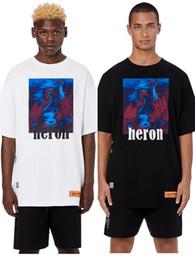 Rot tshirt männer online-HOT Heron Preston T Shirts 19FW Männer Frauen Hohe Qualität Hip Hop Reiher Preston Phantom Rot-Gekrönter Kran T-Shirt Mode Baumwolle T-shirt