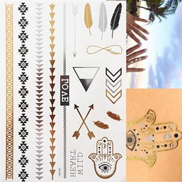 Dreieck-tätowierung online-Flash Tattoo Metallic Silber Gold Triangle Angel Wings Henna Tattoos