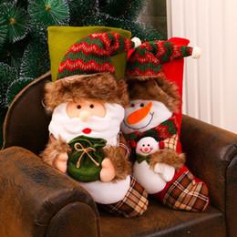 Divano di calze online-Renna di natale Calze 2 disegni Bambola Babbo Natale Divano arredamento articoli di Natale Kindergarten decorazioni dei cartoni animati 1 Pezzo ePacket