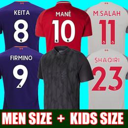 Tailândia HOMENS e CRIANÇAS Blackout Salah camisa de futebol 2018 2019  KEITA camisa MANE 18 19 Virgil FIRMINO SHAQIRI kits de Futebol conjuntos  top camisa 94e13182591ac