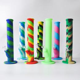 fabricantes de moedas Desconto 14.2 polegadas Silicone Bongos de Silicone Tubulação De Água De Vidro Bongos com 8 cores de Silicone Plataformas de Petróleo Cachimbo de Fumar Tubo De Vidro Frete Grátis
