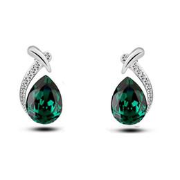 Conjunto de collar de piedra púrpura online-Elegantes Conjuntos de Joyas Hermosas Collares de Lujo Buques de Joyas Púrpuras Conjuntos de Joyas de Cristal Gota de Agua Pendientes de Piedra Cúbica