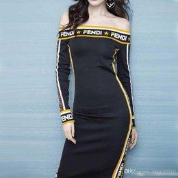 2019 embelleció los vestidos largos moldeados de la manga De calidad superior 2019 Estilo de la moda de las mujeres Full F Diseño Slash cuello Vestidos casuales Vestidos de fiesta Niñas Vestidos de suéter FF Vestido de suéter de hombro