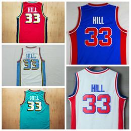 2019 ropa interior negro brillante Calidad superior # 33 Grant Hill Jerseys azul rojo blanco cosido Grant Hill camisas para hombre al por mayor envío de la gota