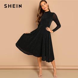 63b38091ac5f vendita all ingrosso Vestito a maniche lunghe nero lucido con maniche eleganti  Vestito a maniche lunghe con scollo a barchetta