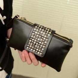 36164143f8 60pcs lot Women Leather Handbag Fashion Rivet Stud Long Day Clutch Bag for Lady  Black Female Party Evening Tote Purse Pouch