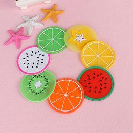 venda facial Desconto PVC Macio Silicone Coaster Novidade Fruta Forma redonda Copo Pad Slip Isolamento Bebidas Mat Talheres placemats acessórios de cozinha 9 cm