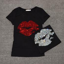 Top labios sexy online-Mejores ventas de camiseta de las mujeres del verano de manga corta moda femenina Sexy Lip Crystal T-shirt O cuello suave de algodón para mujer camiseta Y190123