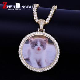 Выполненный на заказ фото медальоны ожерелье кулон с 4 мм теннисный цепи  золото серебряный цвет кубический Циркон мужские хип-хоп ювелирные изделия 9a5738dcfaf