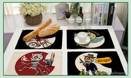 2020 tapete de mesa em tecido Coaster do crânio do punk dos desenhos animados Placemat tecido de algodão Mat Tabela Louça Para Acessórios de cozinha Mat Pad 42 * 32CM pano de tabela Mats tapete de mesa em tecido barato