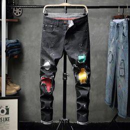 pantaloni legging stretti degli uomini di modo Sconti I nuovi jeans a vita bassa dei jeans stretti a maniche corte degli uomini della vernice del nuovo stile 2019 degli uomini dipingono 8815