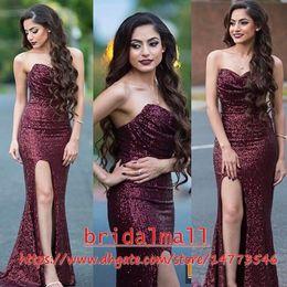 vestido de alfombra roja barato Rebajas Sparkly Borgoña lentejuelas de alta división de baile vestidos de noche 2019 Sexy novia de manga larga vestido de alfombra roja vestido de desfile barato Celebrity