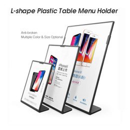 Display porta poster online-A6 L forma acrilico Poster Menu Supporto Stand Lean a Perspex Leaflet Display Stand Impostazione Display Tent Stand Holder