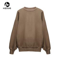 Ropa de otoño oliva online-HZIJUE 2018 otoño Streetwear Kanye West algodón Sudadera de gran tamaño Ropa Chándal hip hop Sudaderas gris oliva camel negro color C18122901