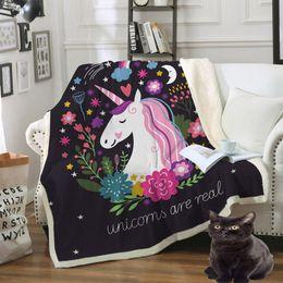 manta de terciopelo de algodón Rebajas Floral impreso manta de terciopelo de algodón portátil Unicorn libélula lobo suministros de cama sofá negro edredón 1pcs dibujos animados