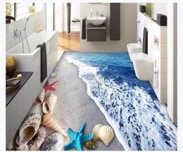 2019 malerei wandfliesen maßgeschneiderte 3D selbstklebende Boden Malerei Wand Papier Strand Strand Shell 3D dreidimensionale Malerei Badezimmer Boden Fliesenboden Aufkleber rabatt malerei wandfliesen