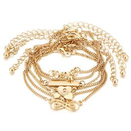 braceletes indianos do dedo Desconto GERUISHA 6 PCS Ankle Bracelet Set Jóias Boho Bohemian Cadeias De Ouro Infinito Duplo Coração Amor Bloqueio Charme Pulseiras Para As Mulheres Ank