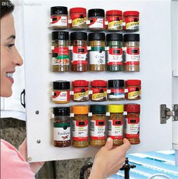 spice rack bottles Coupons - Wholesale-5PCs Storage Holdres Racks For Casters Spice Jars Bottles Fit Kitchen Fridge Door Back Wall Cabinet Space Saver Clear Up Tools