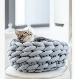 maison en laine Promotion Nid de chat tissé à la main super épais laine nid pour animaux de compagnie créatif rond corde à tricoter chat maison petit chien chenil