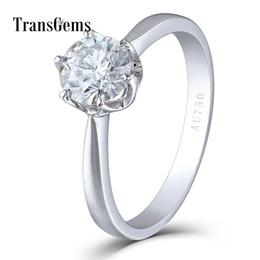 Quilates de oro 14k online-Transgems Sólido 14k 585 Oro Blanco 1 Carat Ct Diámetro 6.5mm F Color Lab Grown Moissanite Anillo de Compromiso de Diamantes Para Mujeres Y19032201