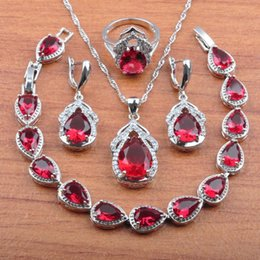 2020 orecchino di rosa collana di rosa Wedding Jewellry Rose Red Zirconia 925 Sterling Silver Jewelry Set Per Le Donne Orecchini Pendente Della Collana Anelli Braccialetto JS0305 orecchino di rosa collana di rosa economici