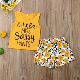 toddlers sleeveless t shirts Coupons - summer Toddler Girls Tops sleeveless letter T-shirt+sunflower Pants Outfit Sleepwear cool Pajamas Clothing