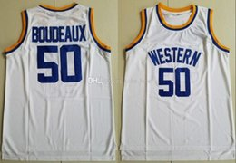Basquete estilo livre estilo jersey on-line-New Style 50 Shaq Neon Boudeaux Jersey Homens Universidade Basketball Western College Filme camisola da equipe Cor Branco Esporte costurado frete grátis