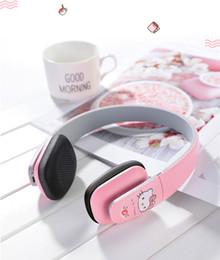 Argentina Nuevo Hello Kitty auricular Bluetooth inalámbrico de color rosa / rojo de alta fidelidad en el oído Auricular de música con micrófono para el regalo de la chica iphone Suministro