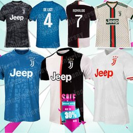 19 uniformes de futebol 20 JUVENTUS Jersey Ronaldo 4 de Ligt Maillots BUFFON 9 HIGUAIN 10 DYBALA 17 Mandzukic Longe Home Soccer Jersey de Fornecedores de spain manga longa camisa de futebol