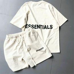 желтое небо Скидка Fear Of God T-shirt Men Women 1:1 High Quality 2018SS New Collection Logo Fear Of God Essentials Boxy Graphic Tee T Shirt