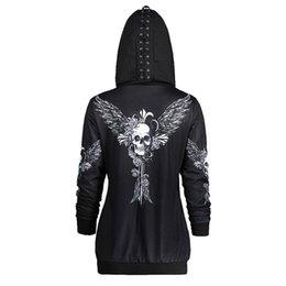 2019 hoodies para crânio feminino Crânios de Asa Impressão Womens Zipper Cardigan Casacos Hoodies Sportswear Casuais Com Capuz Moletons Mulher Tops Soltos Hoodies hoodies para crânio feminino barato