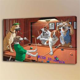 pinturas religiosas Rebajas Perros que juegan al billar -2, Impresión en lienzo HD Nueva decoración del hogar Pintura artística / (sin marco / enmarcada)