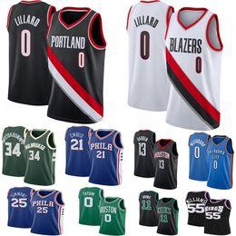 Ncaa Damian 0 Lillard Jerseys Giannis 34 Antetokounmpo Dikembe 55 Mutombo James 13 Harden LeBron 23 James Joel 21 Embiid Basketball Jersey desde fabricantes