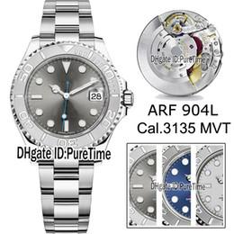 Reloj de acero color azul online-2019 Best Edition ARF 40mm Y-M 904L Caja de acero Dark Rhodium Dial Blue Hands Cal.3135 ETA 3135 Reloj automático para hombre SH3135 3 colores Puretime