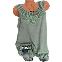 bbc0b8703d05d7 2019 Summer Women Blouses Vintage Sleeveless Hollow Out Lace Tops Shirt  Plus Size Patchwork Tunic Crochet Ladies Blouse Blusas