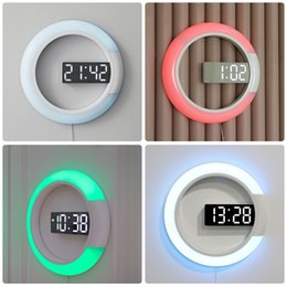 rang clock Promo Codes - 12 inch Creative LED Mirror Hollow Wall Clock Remote Control Digital With Alarm Temperature Dimming Ring Light 7 Color Change