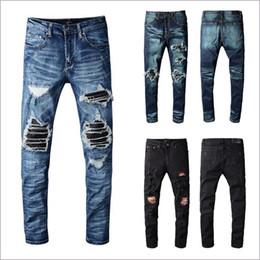 Mens del progettista dei pantaloni di nuovo modo di marca uomini neri skinny jeans strappato il progettista del mens jeans denim Motociclista