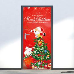 decorazioni naturali della natura Sconti 2 pezzi / set adesivi porta di buon Natale stampa pupazzo di neve arte adesivi rimovibili decorazioni per la casa Kerst Decorare Wall Sticker