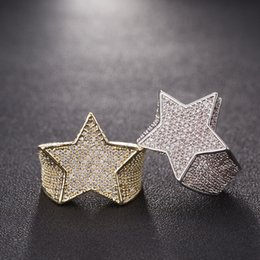 gold color rings Coupons - Men Star Ring 18 K Copper Charm Gold Silver Color Full Zircon Fashion Hip Hop Rock Jewelry