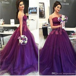 Canada Nouvelle Arrivée Pourpre Robes De Bal Longue 2018 Chérie Dentelle Appliques Perlée Une Ligne Tulle Saoudien Arabe Soirée Robes De Fête supplier long purple beaded prom dress Offre