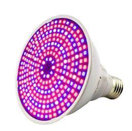 Weiße led wachsende lichter online-290 LED E27 Pflanze wachsen Licht 30W Vollspektrum PVC Indoor Pflanze wachsen Lichter Lampe blau + rot + weiß + IR