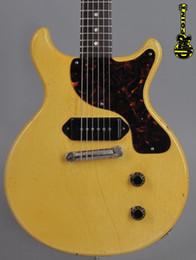 Guitare électrique personnalisée en Ligne-Custom 1959 Junior DC TV Jaune Crème Relique Guitare Électrique One Piece Acajou Corps Cou, P-90 Chien Oreille Pickup, Vin Rouge Pearloid Pickguard