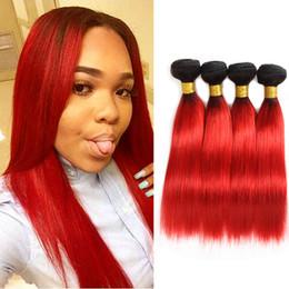 extensiones de cabello de dos tonos mixtos Rebajas Dressmaker Two Tone Black To Hot Color rojo Recto Cabello humano 4 paquetes Malas extensiones de cabello virgen de Malasia Longitud mixta