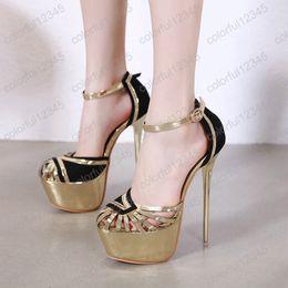 ouro fechado toe bombas Desconto Mulheres de Ouro Sapatos de Vestido Sexy Oco Out Sapatos Das Mulheres Saltos Moda Sandálias de Dedo Do Pé Fechado Das Senhoras Bombas 17 cm Salto Alto Das Mulheres sapatos de Salto Alto
