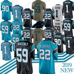 Cam newton jerseys on-line-22 Christian McCaffrey 59 jerseys Luke Kuechly Carolina 1 Cam Newton Panther 58 Thomas Davis jersey bordado Logos de alta qualidade