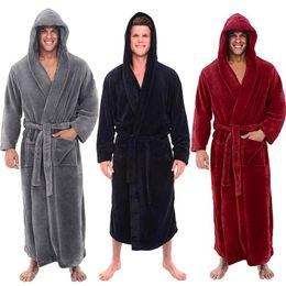 Fashion Casual Mens Bathrobes Flannel Robe Hooded Long Sleeve Couple Men Woman  Robe Plush Shawl Kimono Warm Male Bathrobe Coat ad7ff8d3e