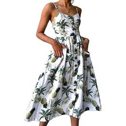 Oscillare online-Nicesnowman Abiti da donna Summer Holiday Sundress Floral Bohemian Spaghetti Strap Button Down Swing Midi Dress con tasche